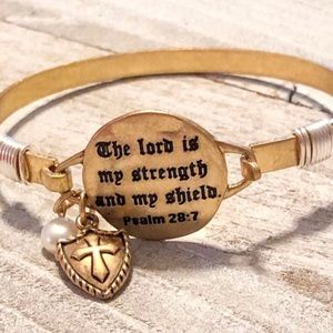 Gold Inspirational Scripture Bangle Bracelet